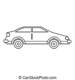 automobile, icona, contorno, stile