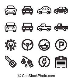automobile, icona, set