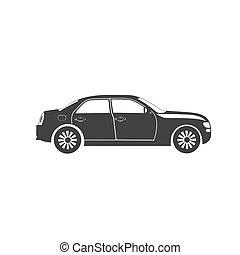 automobile, icona, vettore