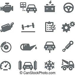 automobile, icone, -, servizio, utilità
