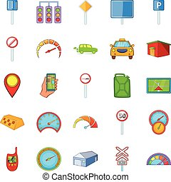 Automobile icons set, cartoon style