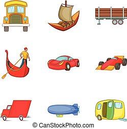 Automobile icons set, cartoon style - Automobile icons set....