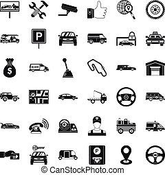 Automobile icons set, simple style