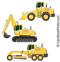 automobile, illustrazione, apparecchiatura, vettore, lavori in corso, strada