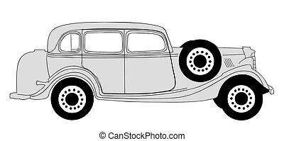 automobile, illustrazione, fondo, vettore, retro, bianco