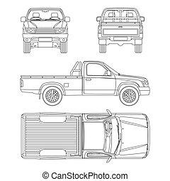 automobile, illustrazione, uno, pickup, vettore, carrozza camion