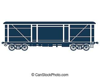 automobile, -, illustrazione, vettore, nolo, coperto, ferrovia