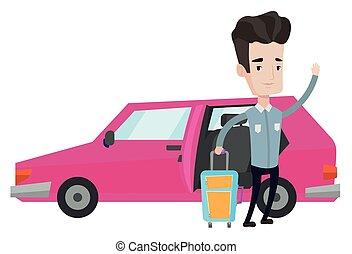 automobile, illustrazione, vettore, viaggiare, caucasico, uomo