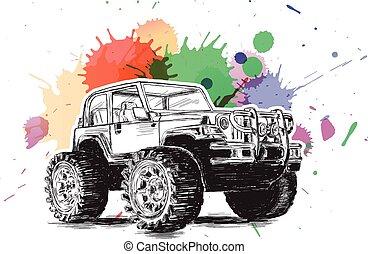automobile, inchiostro, sport, suv, veicolo, utilità