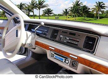 automobile, interno, retro, vendemmia, in, caraibico, campo golf