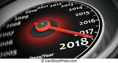 automobile, interpretazione, 2018, anno, nuovo, tachimetro, 3d