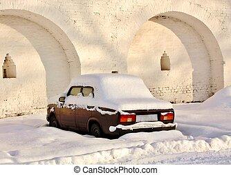 automobile, inverno, abbandonato