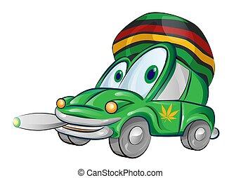 automobile, isolato, giamaicano, fondo, bianco, cartone animato