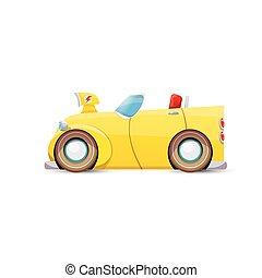 automobile, isolato, vettore, arancia, bianco, cartone animato