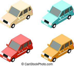 automobile, isometrico, icone