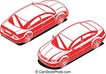 automobile, isometrico, immagine