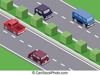 automobile, isometrico, strada