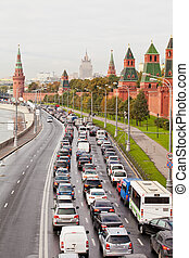 Automobile jam on the Kremlin quay in rush hour. Moscow. Russia
