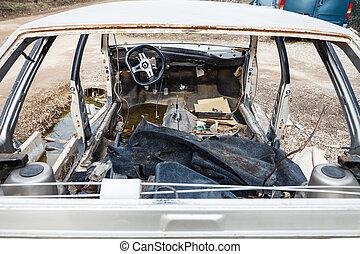 automobile, junkyard, smontato, automobile