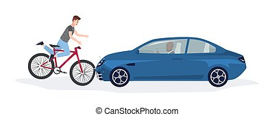 Automobile knocking down boy riding on bike. Head-on road collision with bicyclist involved. Car or traffic accident isolated on white background. Colorful vector illustration in flat cartoon style.
