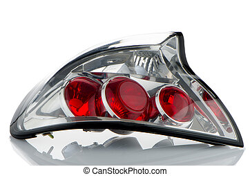 Automobile lamp - Rear automobile lamp detail on white...
