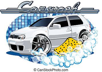 automobile, lavaggio, segno, con, spugna