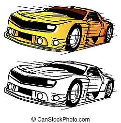 automobile, libro, carattere, coloritura, super