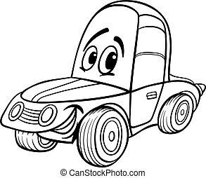 automobile, libro colorante, illustrazione, cartone animato