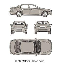 automobile, linea, disegnare, quattro, tutto, vista, cima, lato, indietro, assicurazione, affitto, danno, condizione, relazione, forma, cianografia