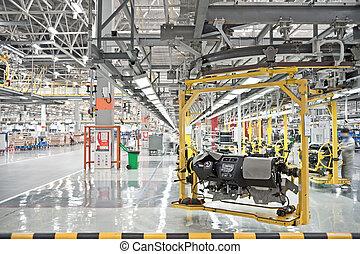 automobile, linea, moderno, produzione