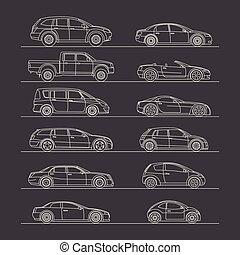automobile, linea, set, disegno, icona