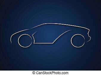 automobile, logotipo, in, sfondo blu