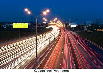 automobile, luci, notte