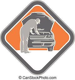 automobile, mécanicien voiture, woodcut, réparation