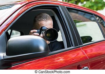 automobile, macchina fotografica, fotografare, slr, uomo