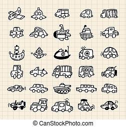automobile, mano, disegnare, elemento