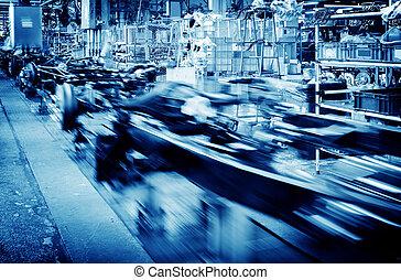 Automobile manufacturing plant - Factory floor, car...