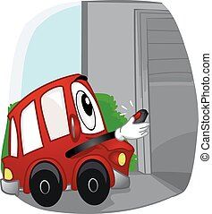 automobile, mascotte, porta, garage