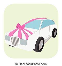 automobile, matrimonio, cartone animato, icona