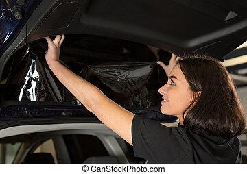 automobile, metta rilievo incartatore, fissaggio, finestra, ...