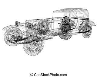 automobile, modello, retro, 3d