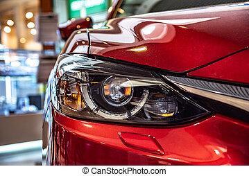 automobile, moderno, close-up., faro