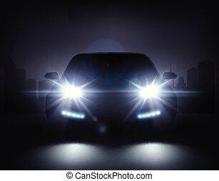 automobile, moderno, composizione, luci