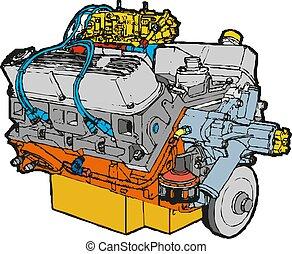 automobile, moderno, isolato, illustrazione, fondo., vettore, bianco, engine.