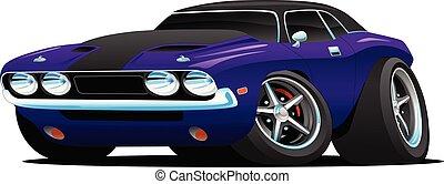 automobile, muscolo, cartone animato, illustrazione, classico