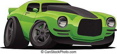 automobile, muscolo, cartone animato, illustrazione