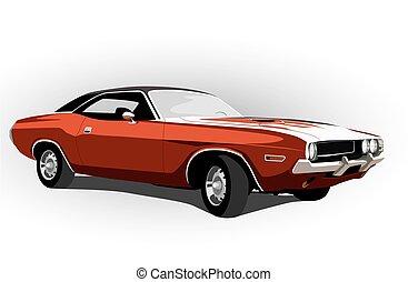automobile, muscolo, rosso, classico