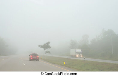 automobile, nebbia, guida, strada