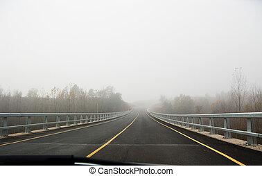 automobile, nebbia, strada