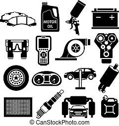 automobile, nero, servizio, icone
